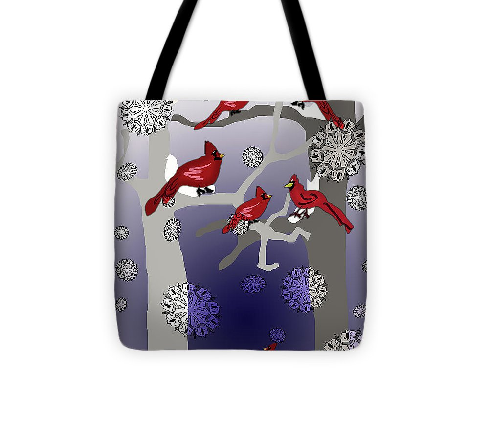 Cardinals In The Snow - Tote Bag