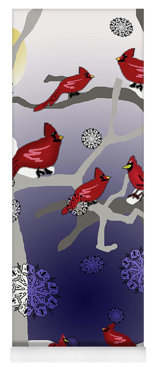 Cardinals In The Snow - Yoga Mat
