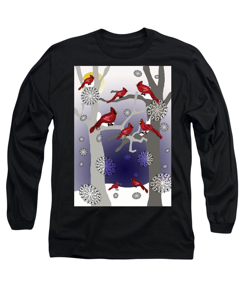 Cardinals In The Snow - Long Sleeve T-Shirt