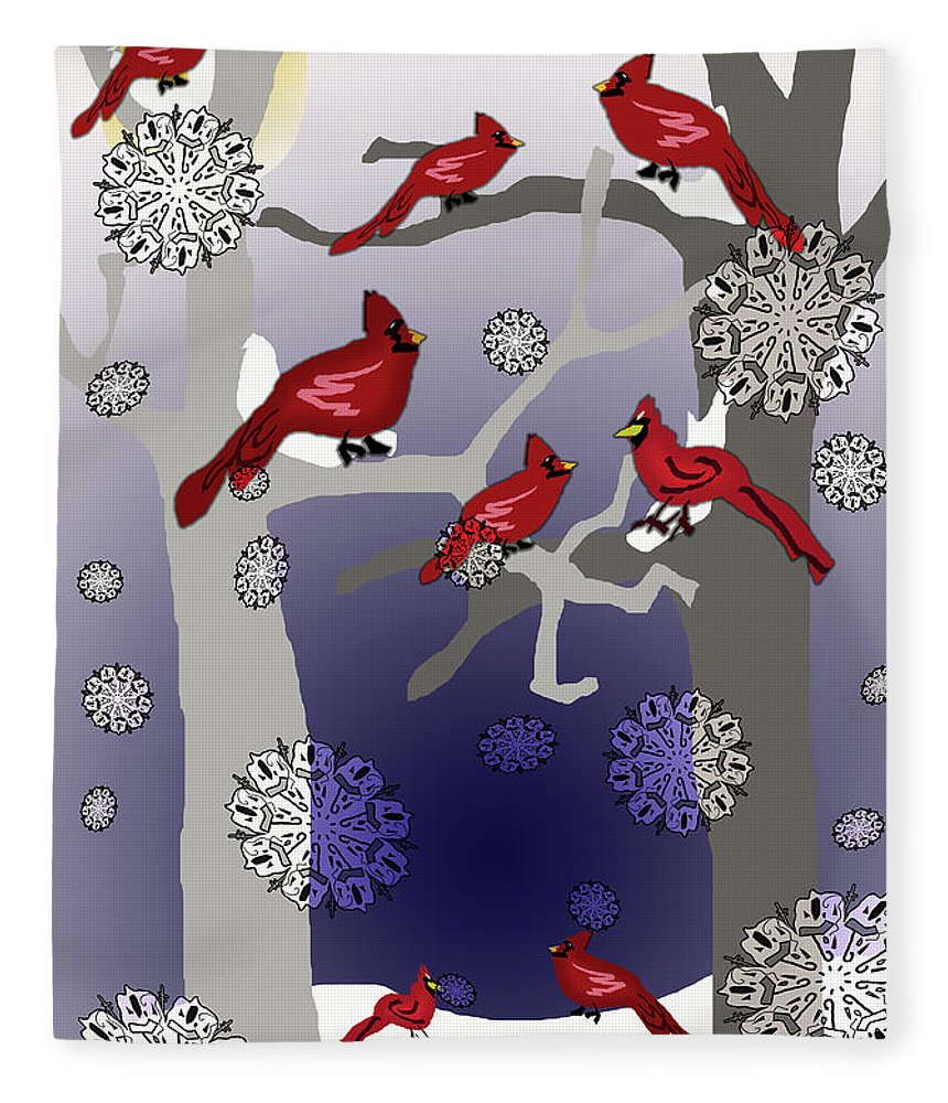 Cardinals In The Snow - Blanket