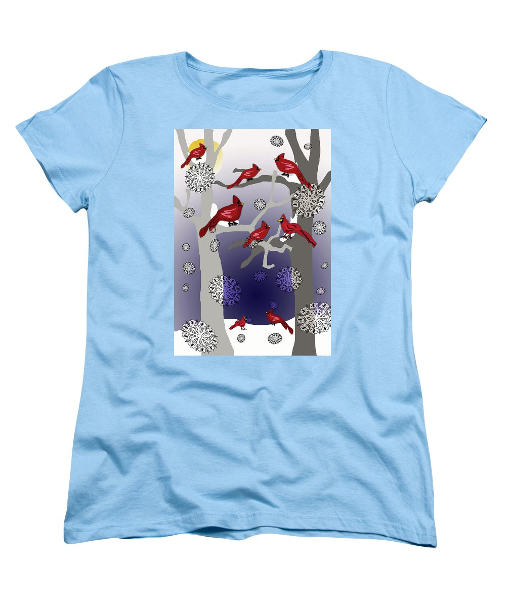 Cardinals In The Snow - Women's T-Shirt (Standard Fit)
