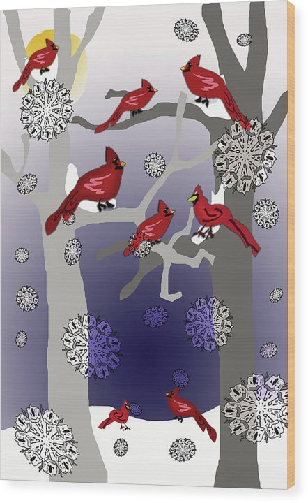 Cardinals In The Snow - Wood Print