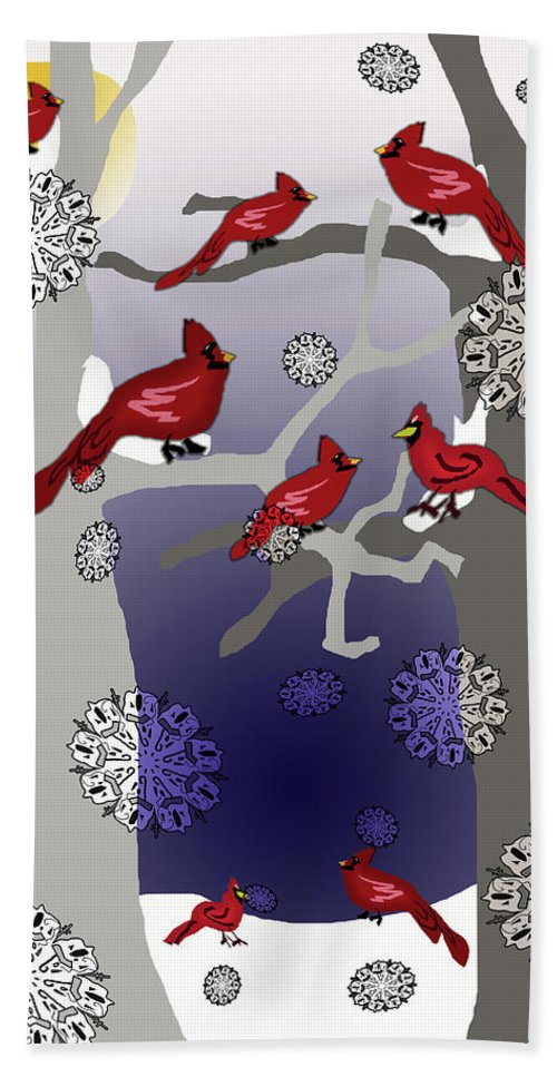 Cardinals In The Snow - Bath Towel