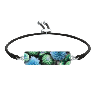 Blue Green Dahlias Bracelet Cord Tie Rectangle Medallion