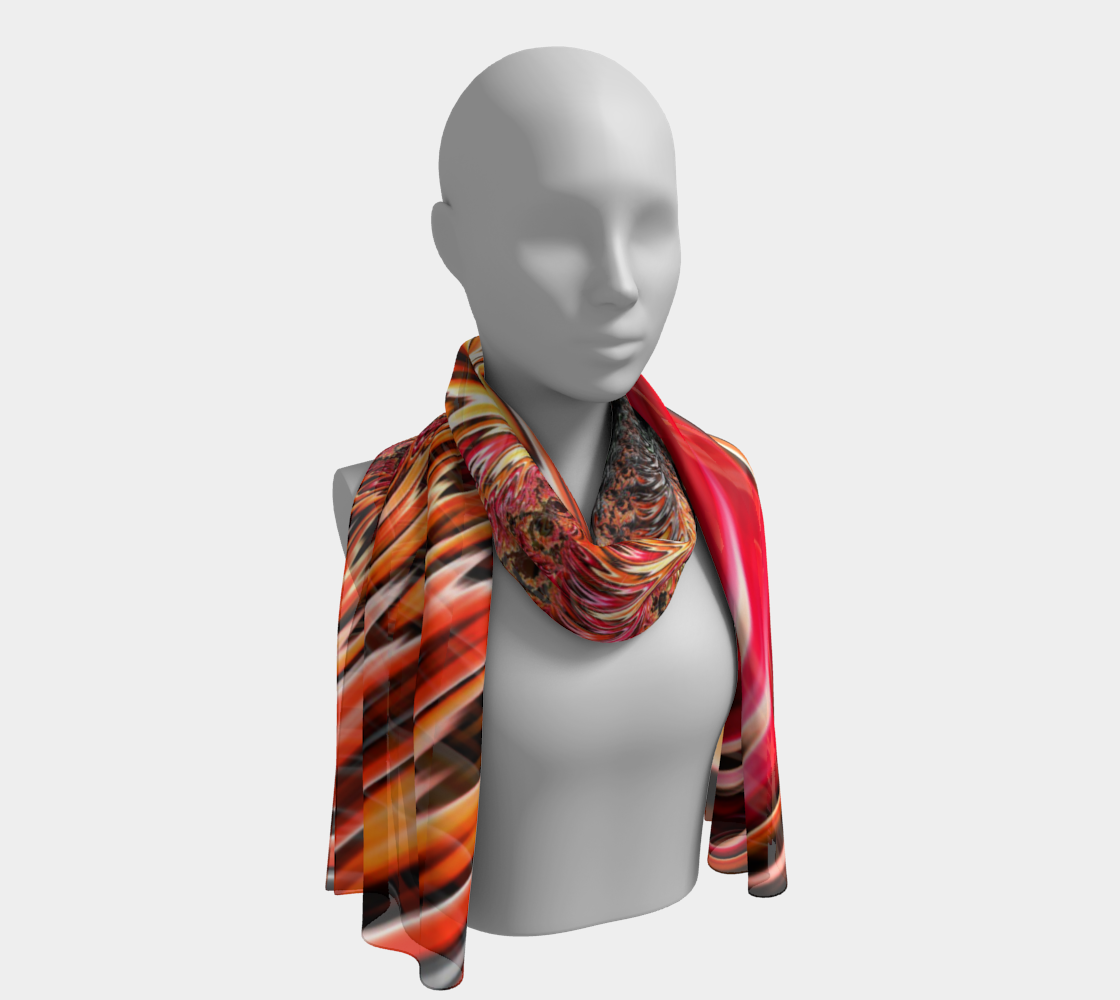 Flaming Owl Fractal Long Scarf