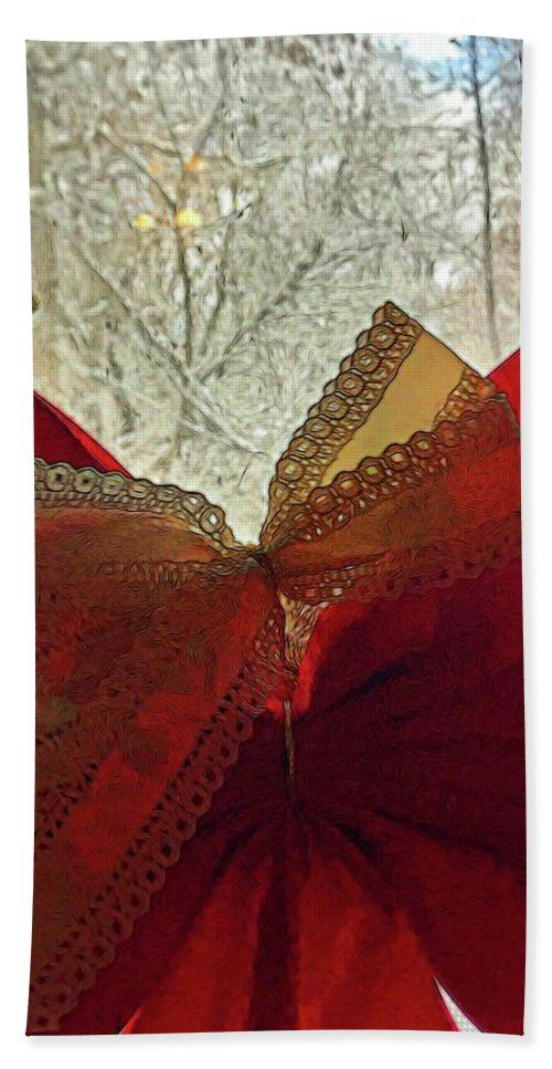 Christmas Bow On The Window - Beach Towel
