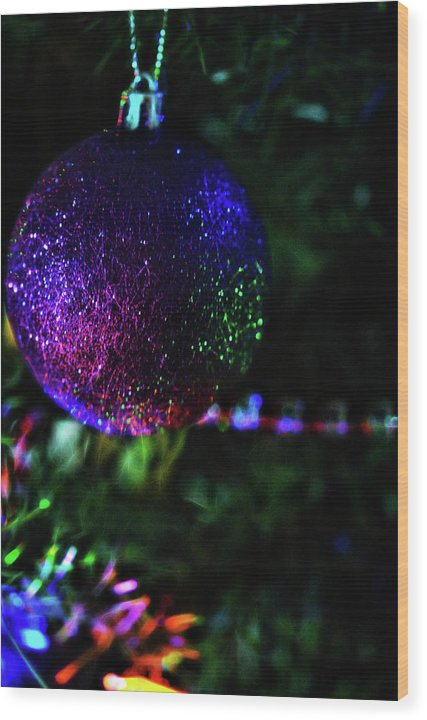 Christmas Purple Glitter Tree Ornament - Wood Print