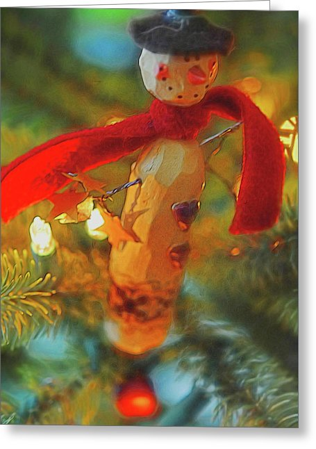 Christmas Tree Country Snowman - Greeting Card - expressive-flower-art-goods.myshopify.com