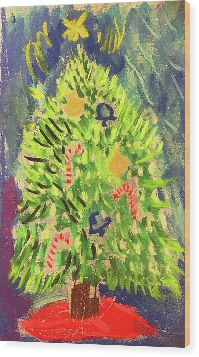 Christmas Tree Pastel - Wood Print