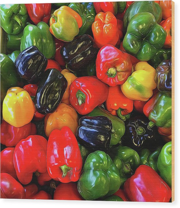 Colorful Bell Peppers - Wood Print