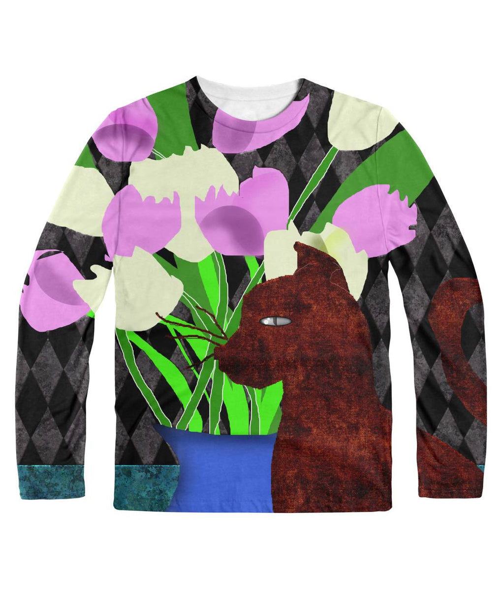 The Cat and The Tulips Longsleeve Sublimation Long Sleeve