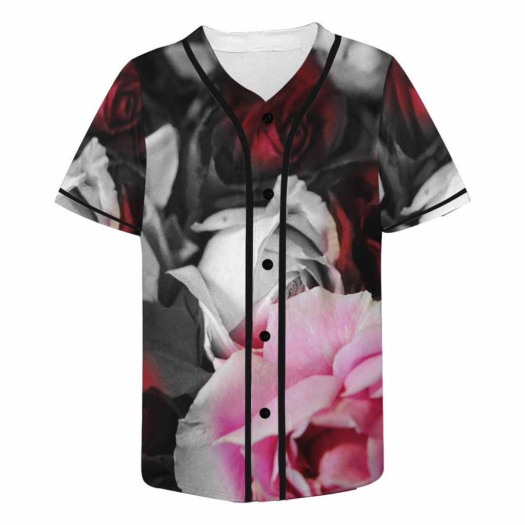 Black and White Roses Baseball Jersey - expressive-flower-art-goods.myshopify.com