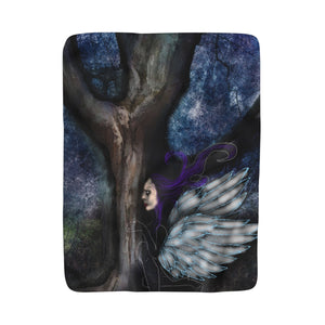 The fairy and The Wizards Tree Sherpa Fleece Blanket
