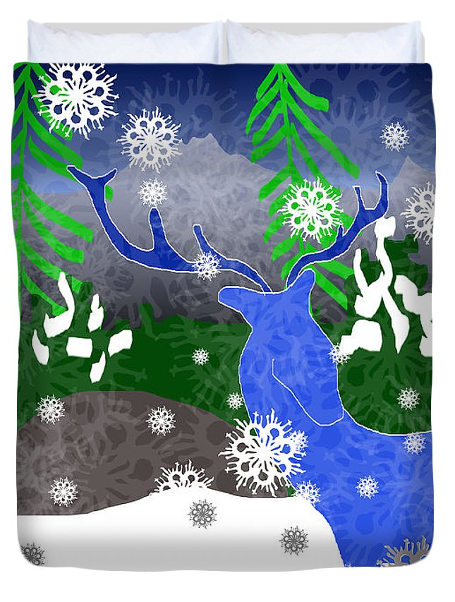 Deer In The Snow - Duvet Cover - expressive-flower-art-goods.myshopify.com