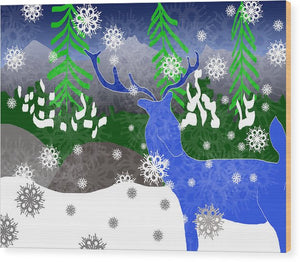 Deer In The Snow - Wood Print