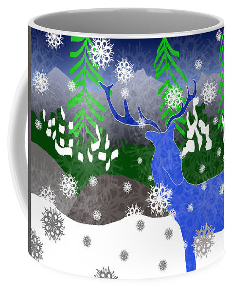 Deer In The Snow - Mug