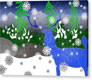 Deer In The Snow - Acrylic Print - expressive-flower-art-goods.myshopify.com