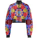 Red Yellow Blue Mandala Gabriel Held Cropped Bomber Jacket - expressive-flower-art-goods.myshopify.com
