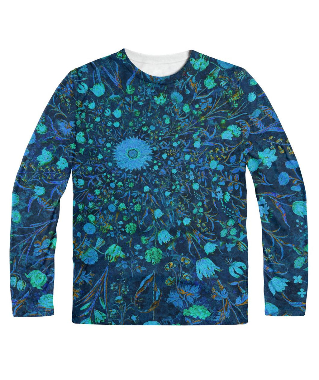 Light Blue Medieval Flowers longsleeve Sublimation Long Sleeve
