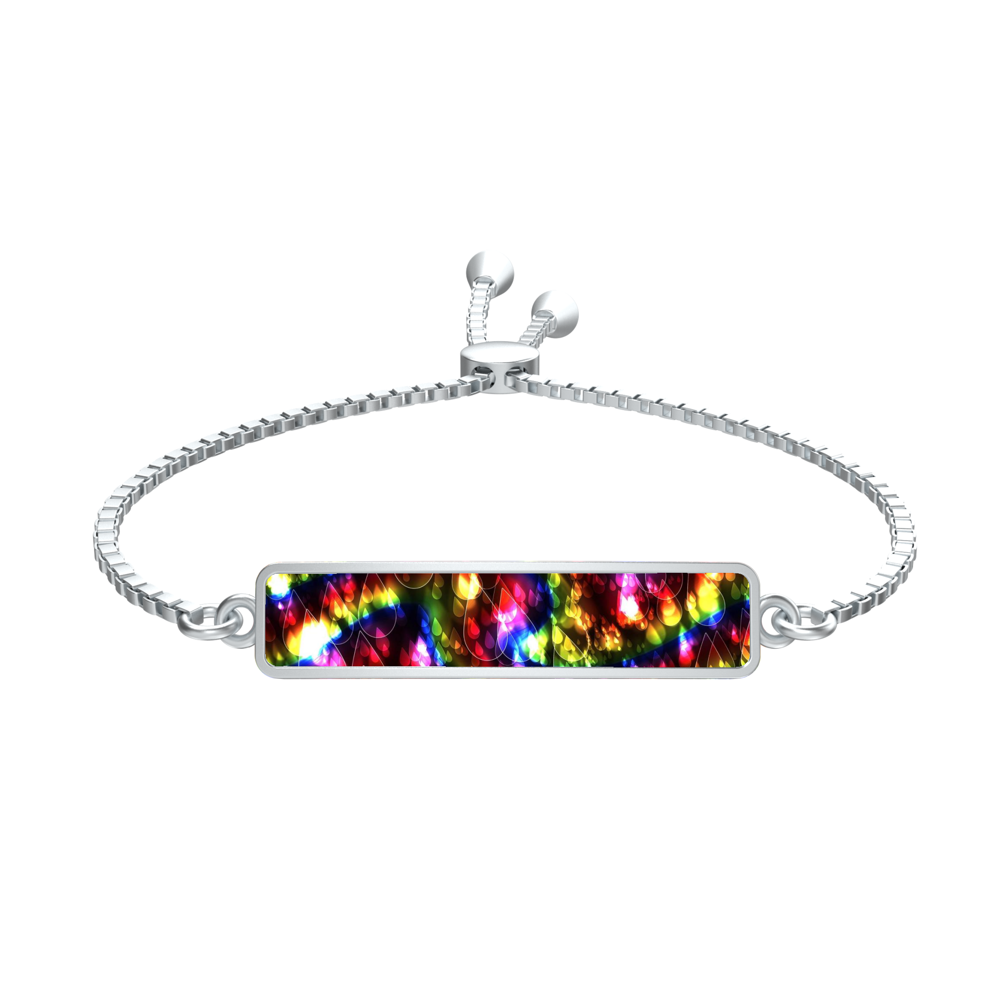 Rainbow Bokeh Light Raindrops Silver Tie Rectangle Medallion Bracelet