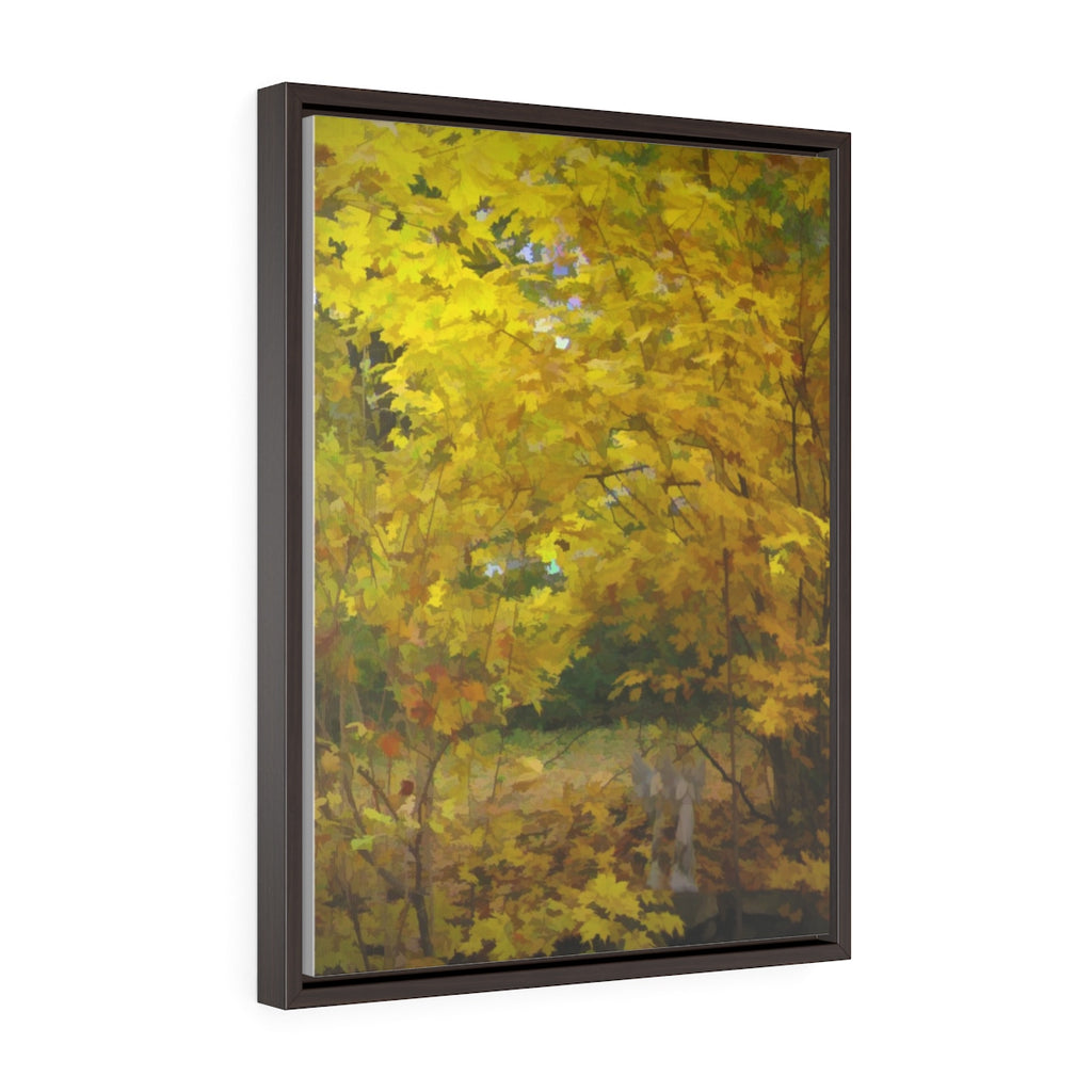 Fall Color Backyard Vertical Framed Premium Gallery Wrap Canvas