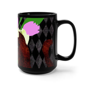 The Cat and The Tulips Black Mug 15oz
