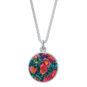 Warm Fall Mums in Pink Necklace