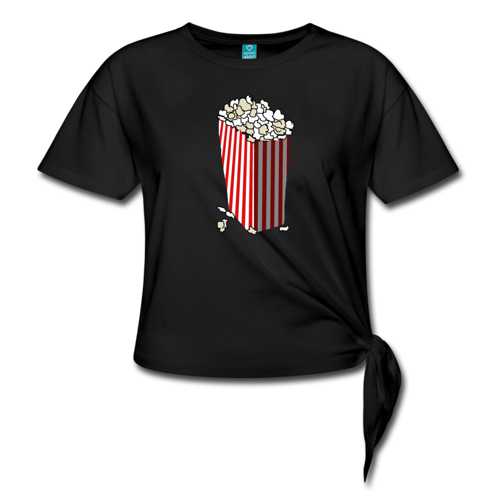 Movie Theater Popcorn Women' s Knotted T-Shirt - black