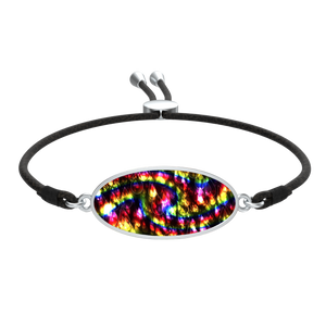 Rainbow Bokeh Light Raindrops Cord Bracelet Oval Medallion