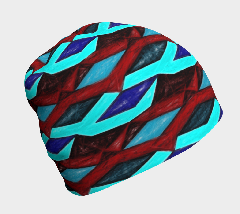 Blue Red Ribbon Stripes Hat