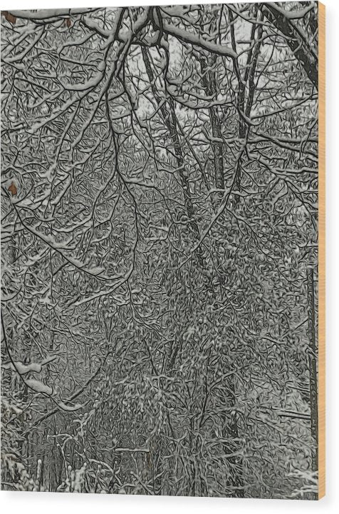 First Winter Snow - Wood Print