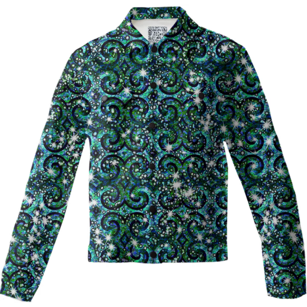 Blue Ice Sparkle Swirl Twill Jacket - expressive-flower-art-goods.myshopify.com