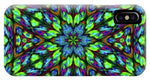 Green Blue Triangle Kaleidoscope - Phone Case