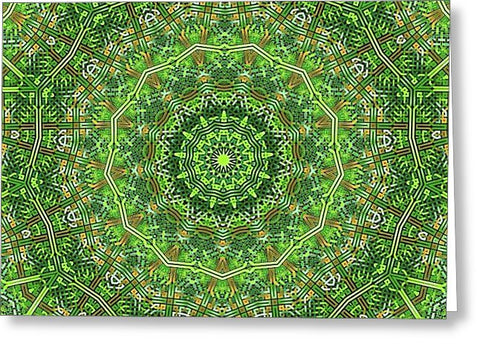 Green Celtic Knot Circle Kaleidoscope - Greeting Card