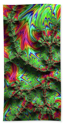 Green Feather Fractal - Bath Towel