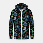 Watercolor Flowers On Black Zip up hoodie