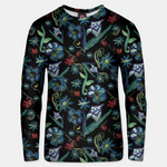 Watercolor Flowers On Black Unisex sweater