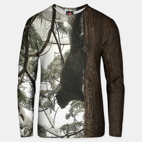 Squirrel on a Snowy Tree Unisex sweater