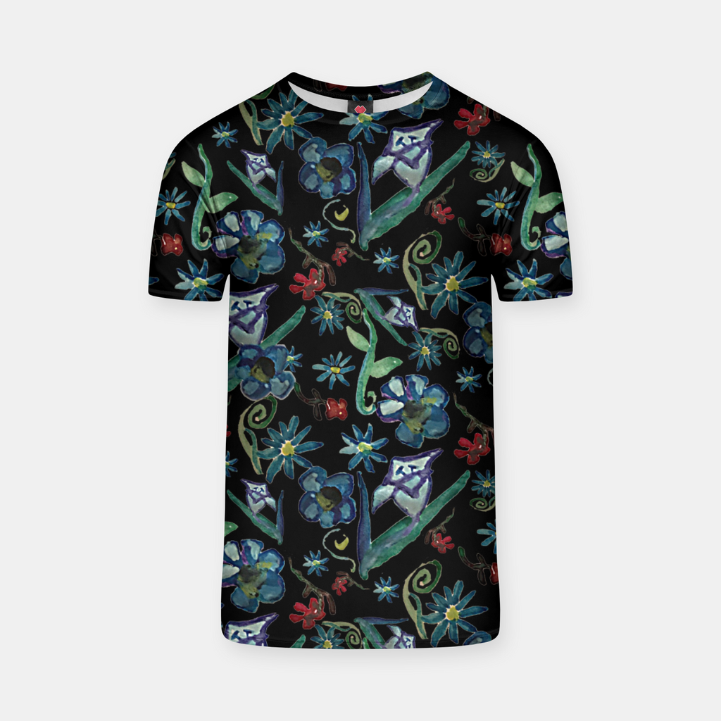 Watercolor Flowers On Black T-shirt