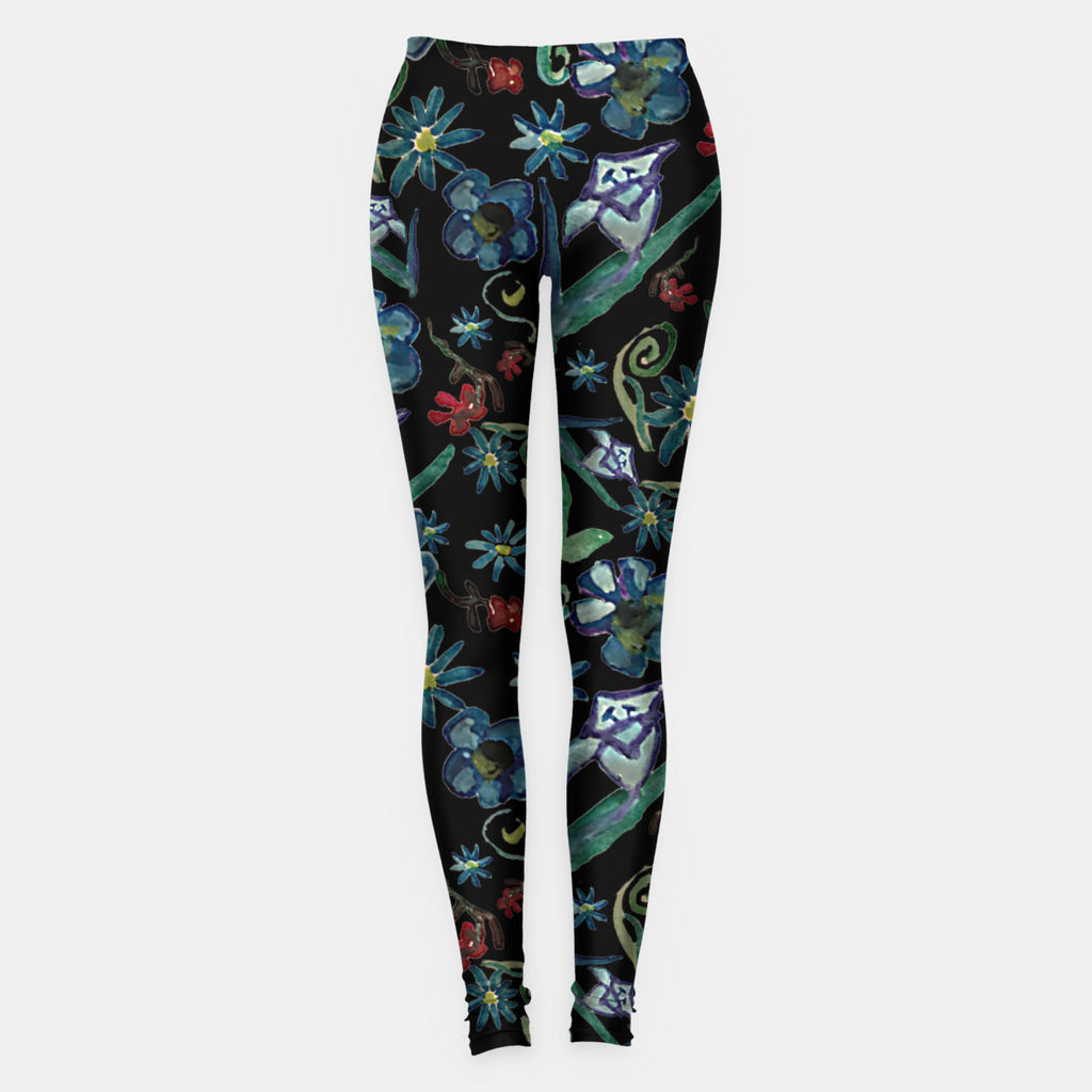 Watercolor Flowers On Black Leggings