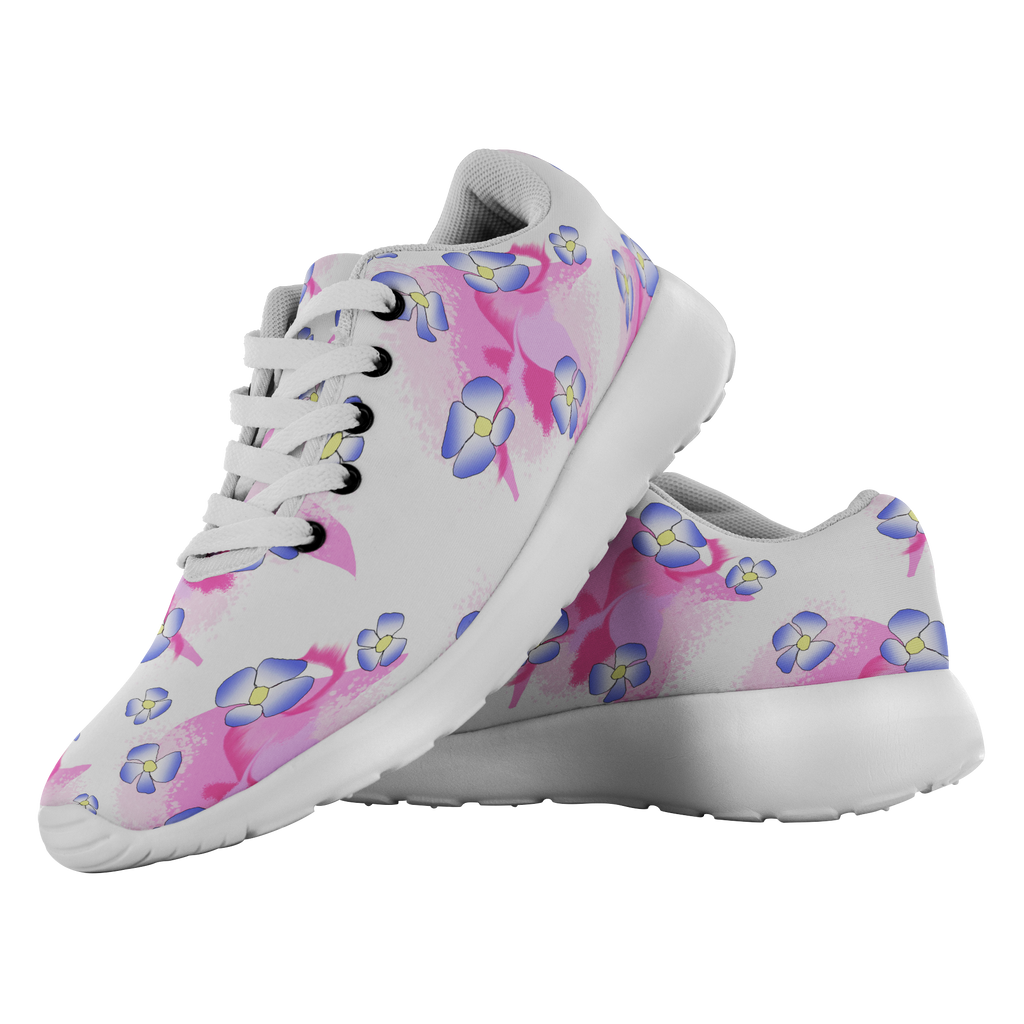 Blue Flowers On Pink Running Shoes