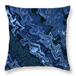Melted Blue Chrome - Throw Pillow