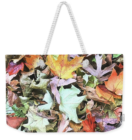 Mid October Fall Leaf Pile - Weekender Tote Bag