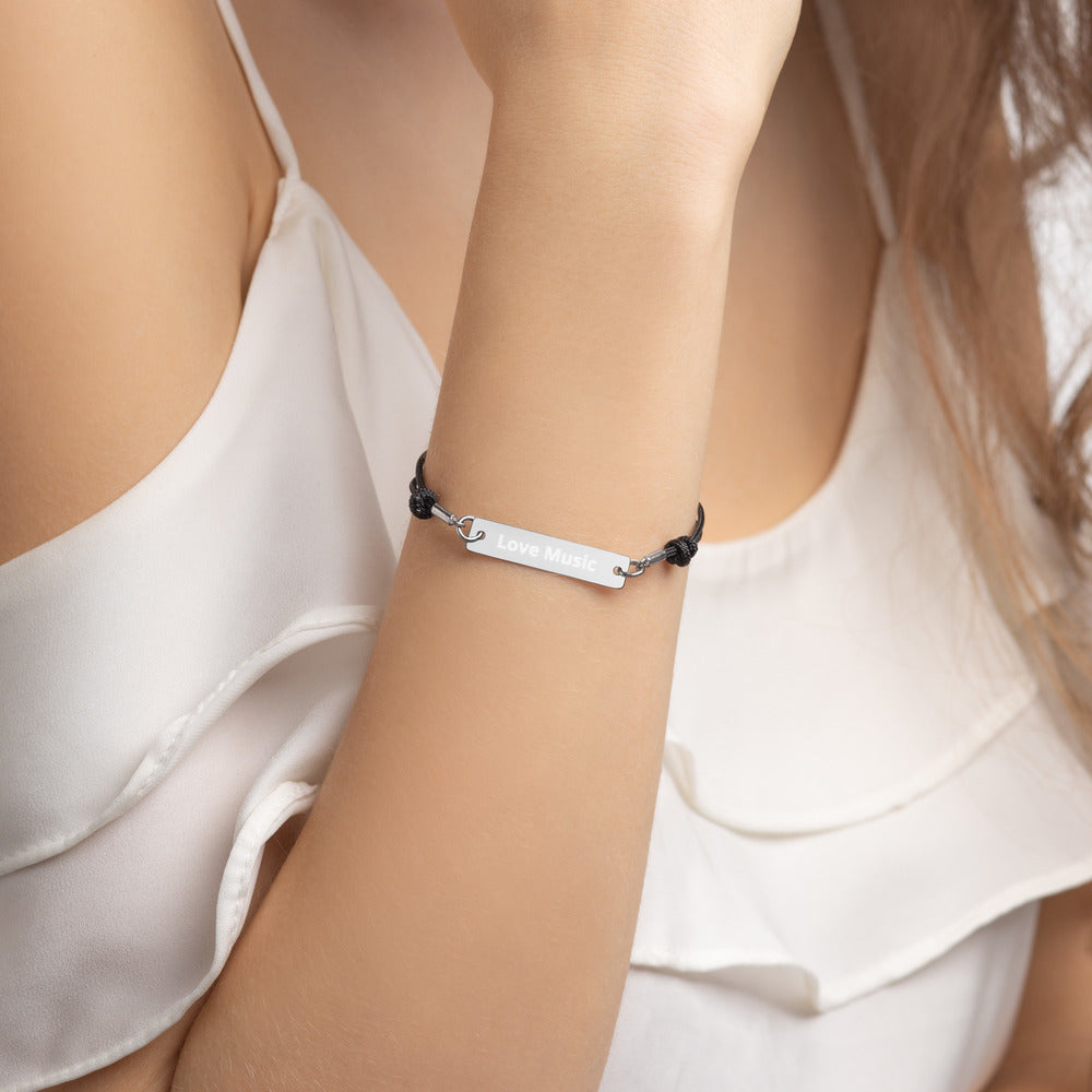 Love Music Engraved Silver Bar String Bracelet