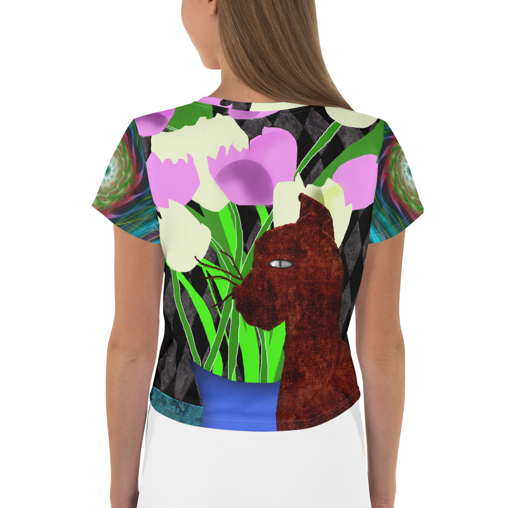 The Cat and The Tulips All-Over Print Crop Tee