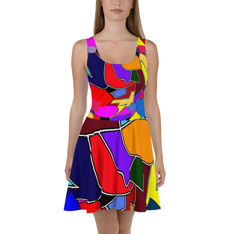 Colorful Shapes All-Over Print Skater Dress