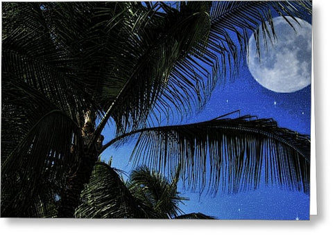 Moon Over Palm Trees - Greeting Card