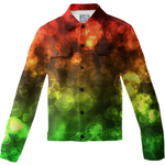Red Green Bokeh Twill Jacket - expressive-flower-art-goods.myshopify.com
