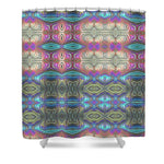 Mystic Blue With Pink - Shower Curtain
