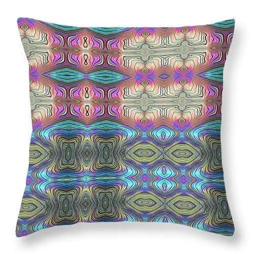 Mystic Blue With Pink - Throw Pillow